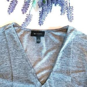 AB Studio Tops - AB Studio Size L Gray Top 3/4 Sleeves Long Length